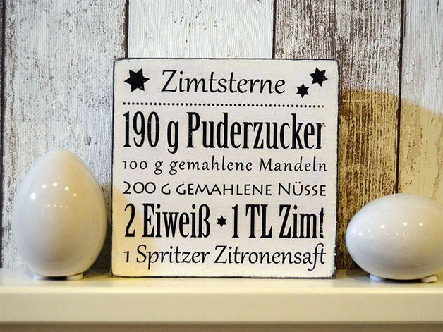 Wandbild aus Holz mit Rezept für Zimtsterne / cute walldecoration, wooden picture with recipe of cinnamon stars by Jade Grafik via DaWanda.com