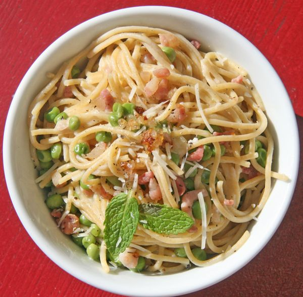 Spaghetti Carbonara: Lighten up traditional carbonara with this whole wheat spaghetti carbonara made with low-fat milk and, yes, a healthy dose of parmesan cheese. Calories: 376 Photo: Lizzie Fuhr