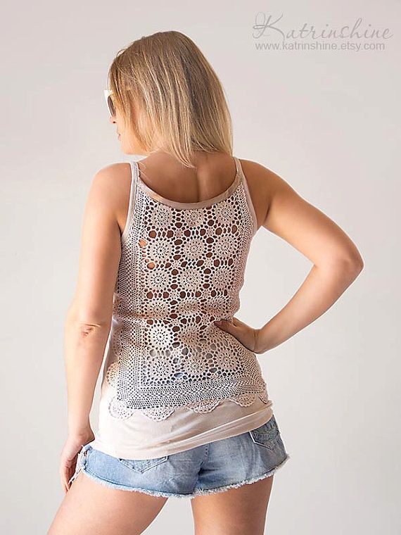 Ecru Tank Top with upcycled vintage hand dyed crochet back