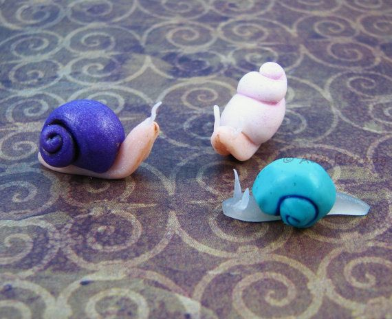 Collection Miniature Fantasy Snails Handmade Polymer By Outpost8