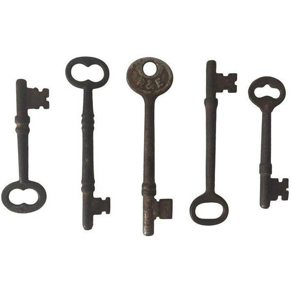 Early 1900s Antique Iron Skeleton Keys - S/5 ($120) ❤ liked on Polyvore featuring home, home decor, small item storage, decor, iron home decor, antique home decor and handmade home decor