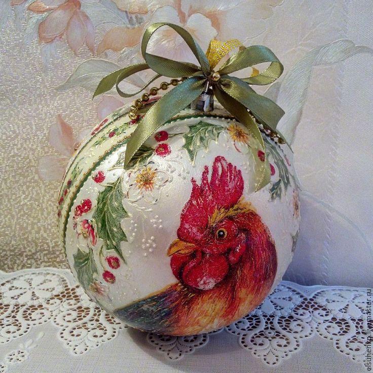 Купить или заказать Новогодний шар 'Петух' в интернет-магазине на Ярмарке Мастеров.
