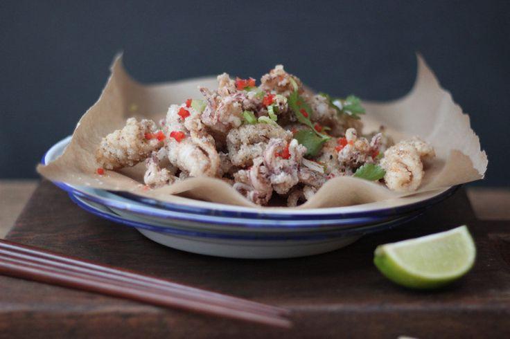Knapperige inktvis in zeezout & sechuan peper