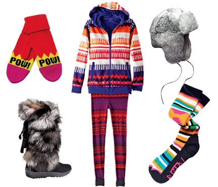 ski clothes and gear: thermals in a fun pattern