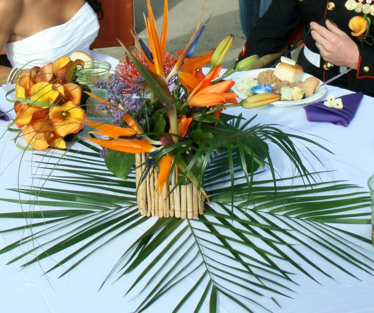 Tropical Centerpiece at a Beach Wedding - Bird of Paradise, Blue Statice, Bear Grass, Orange Oriental Lily and Tropical Foliage - Simply Regal by Julie