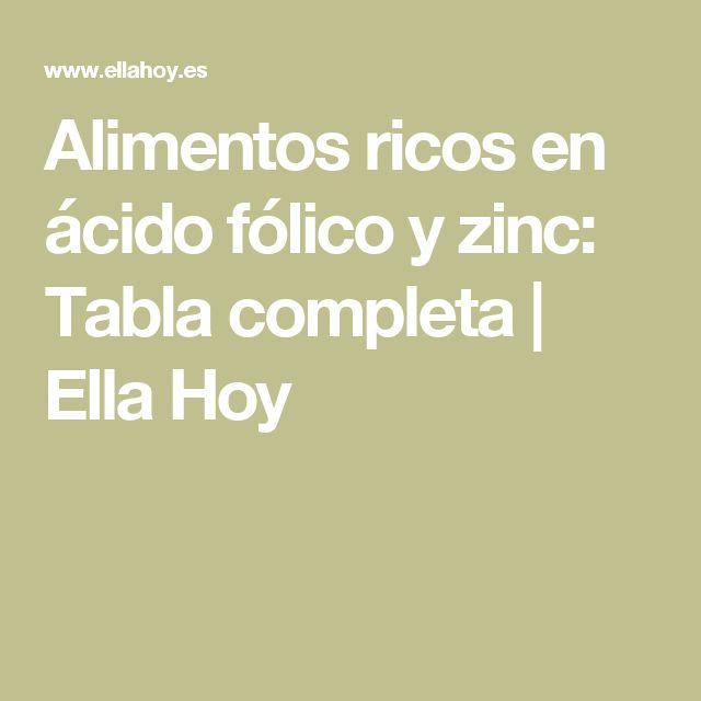 Alimentos ricos en ácido fólico y zinc: Tabla completa | Ella Hoy