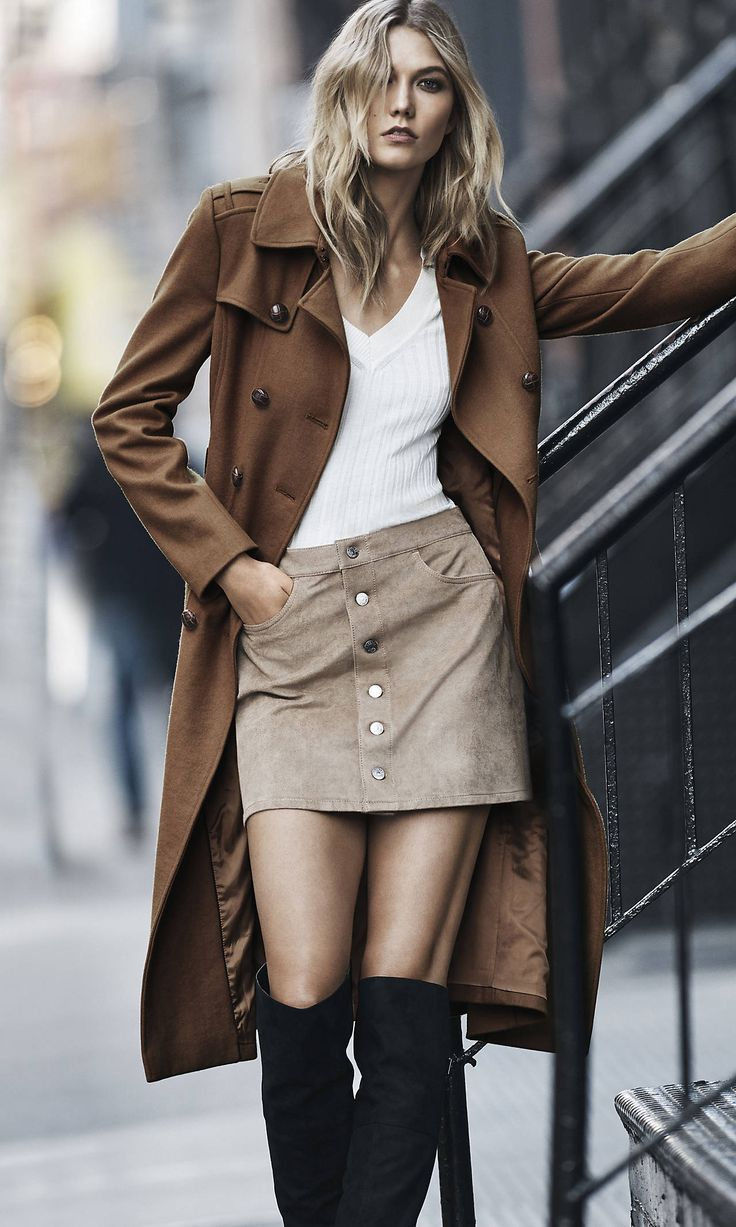Brown Wool Blend Long Trench Coat | Express: