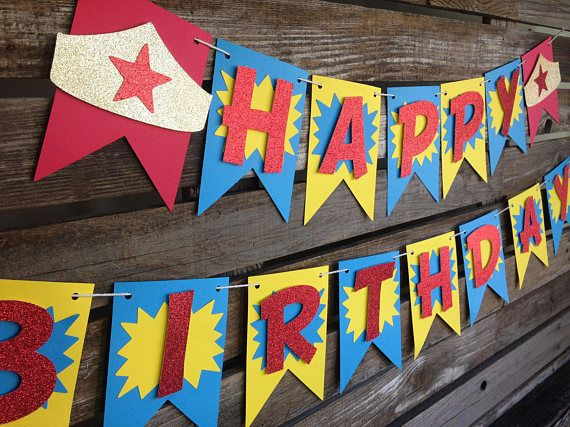 Superhero Wonder Woman Inspired Happy Birthday Banner First