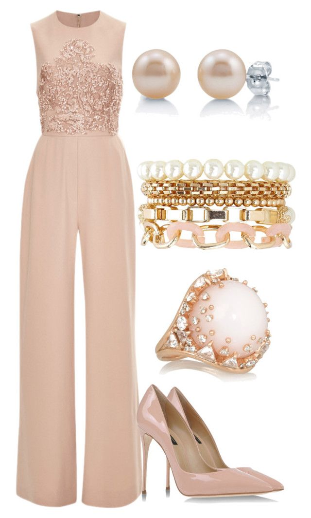 """Elie Saab Blush Pink Jumpsuit with Pink Pearl Stud Earrings and Blush Nude Heels"" by danihope on Polyvore featuring Elie Saab, Dolce&Gabbana, BERRICLE, Charlotte Russe and Fernando Jorge"