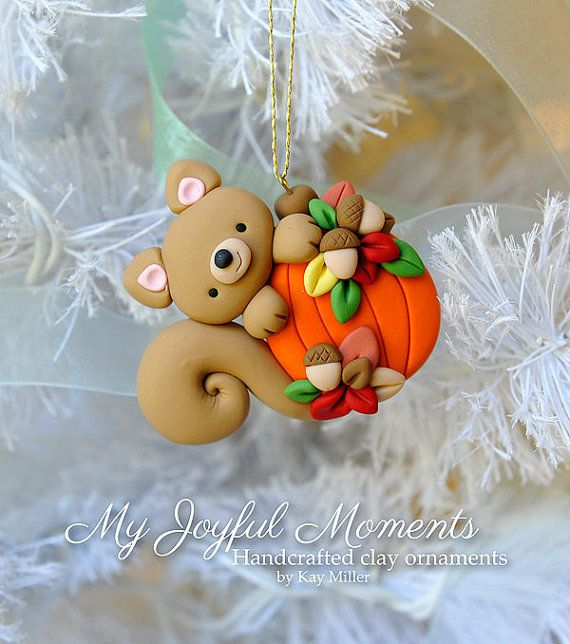Handcrafted Polymer Clay Squirrel with Pumpkin Ornament