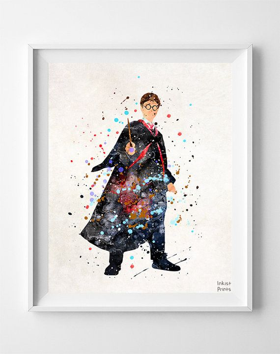 Harry Potter Watercolour Art Print by InkistPrints on etsy.