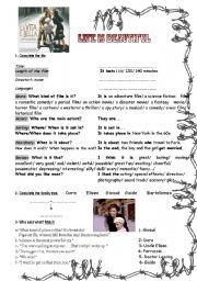 English worksheet: Life is Beautiful (movie) 2pages