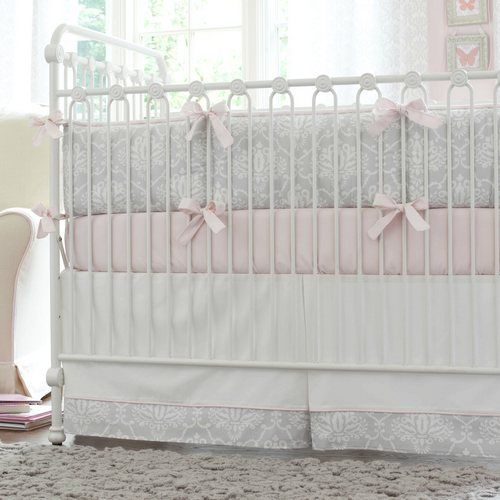 Pink and Gray Damask Crib Bedding | Baby Bedding for Girls | Carousel Designs