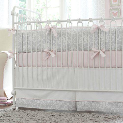 Pink and Gray Damask Crib Bedding | Baby Bedding for Girls | Carousel Designs #nursery #baby