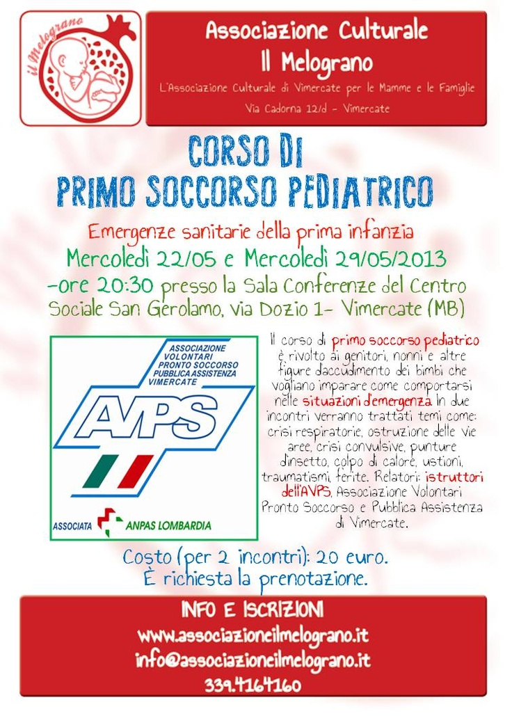Corso di primo soccorso pediatrico a Vimercate (MB)