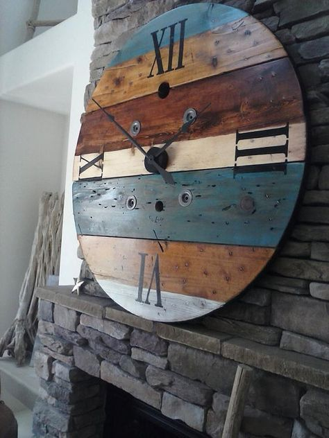 This clock is made from an old wooden wire spool. It has been sanded, stained and or painted and has a rustic look. You can choose Painted or Steel Roman or Arabic Numerals. Steel cut Numerals/Numbers will incur additional charge because we have them custom made for HadleeRaeWoodDesigns. No two spools are the same as the wood we find has its own unique characteristics! Clocks will slightly differ. Some have more holes or slotted holes where the wire is usually pulled from (these vary in...