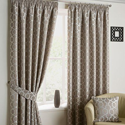 Just Contempo Geometric Pencil Pleat Lined Curtains - 66 x 54 inches, Stone Beige