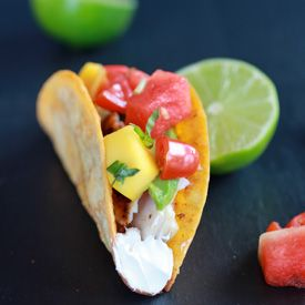 Coconut Lime Mahi Mahi Tacos with Tequila Soaked Watermelon Salsa. The perfect quick and easy summertime meal!