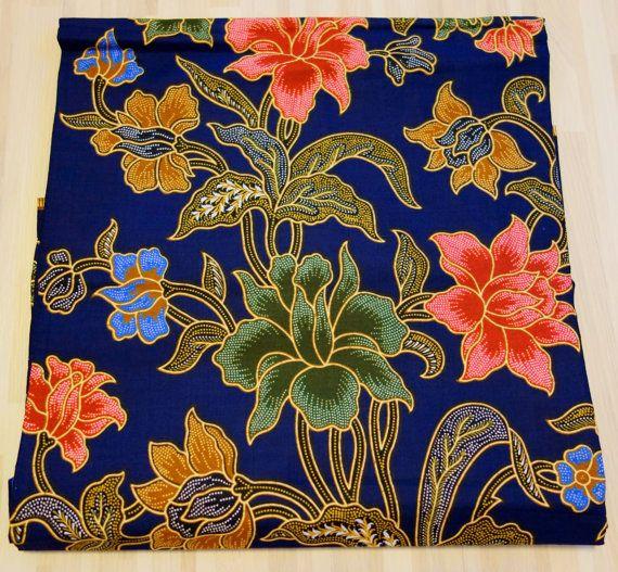 Printed blue floral batik sarong fabric