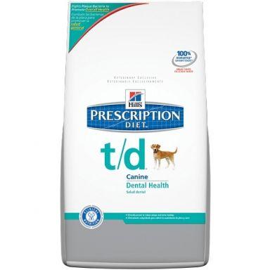 Hills Prescription T/D hond  Dieetvoeding voor honden die bijdraagt tot een optimale mondhygiëne. Heeft een afremmend effect op de ontwikkeling van tandplak tandsteen en verkleuring.  EUR 66.30  Meer informatie