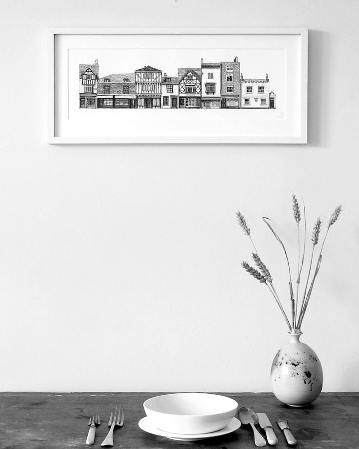 New prints are now on my online store! This print is of buildings in Canterbury! #prints #architecture #drawing #pencil #wallart #design #artist #Canterbury
