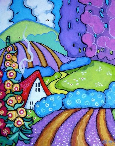 """Just a Whimsy -The Lavender Farm"" - acrylic by ©Alida Akers (via DailyPaintworks)"