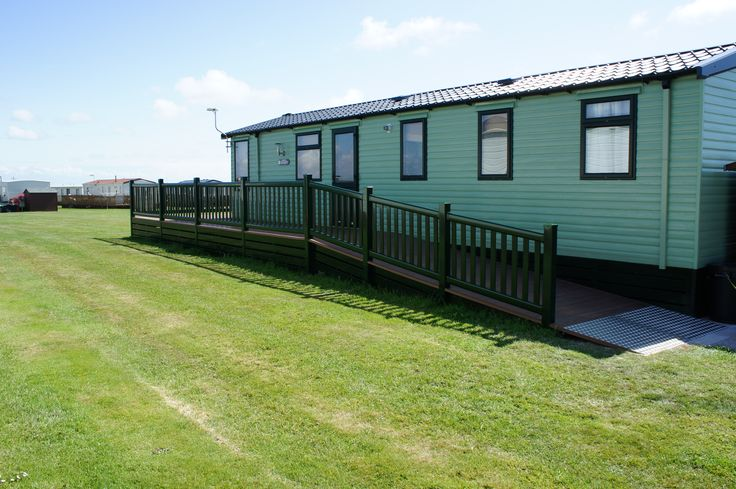 Fensys static caravan upvc decking with ramp access