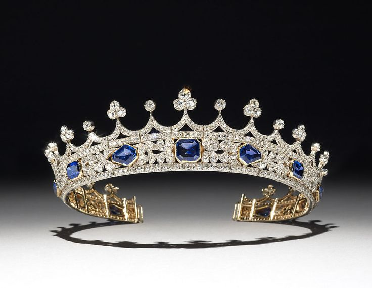 The tiara was designed by Prince Albert for Queen Victoria, is set with sapphires and diamonds and can be seen in the portrait of the Queen by Winterhalter in 1842.