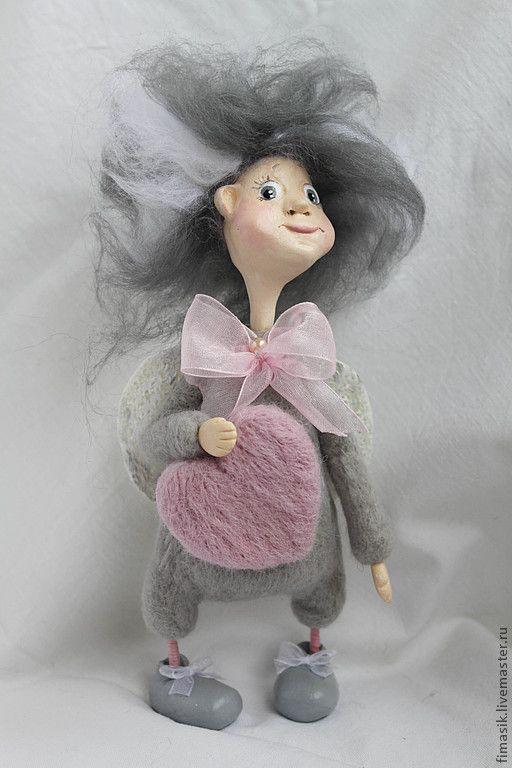 Лапушкин - сердечко,серый цвет,серый,ангел,ангелочек,оригинальный подарок