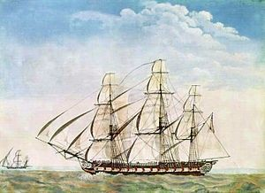 The first USS Essex of the United States Navy was a 36-gun or 32-gun sailing frigate that participated in the Quasi-War with France, the First Barbary War, and in the War of 1812. The British captured her in 1814 and she then served as HMS Essex until sold at public auction on 6 June 1837. Commissioned: 17 December 1799. Captured: 28 March 1814.