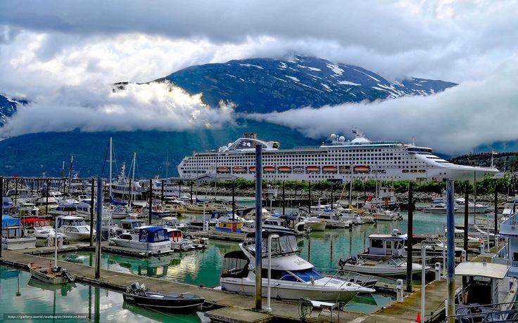 scaricare gli sfondi Ancorata a Skagway,  Alaska,  porto,  spedire Sfondi gratis per la risoluzione del desktop 2048x1280 — immagine №650025