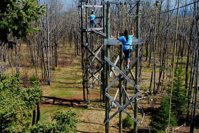 Wolf Ridge Environmental Learning Center- High ropes course tests everyone. (Finland, MN)