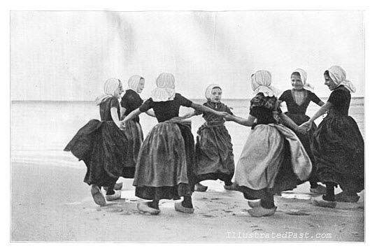 Dutch Girls Doing Traditional Dutch Dance by the Seashore, 1906