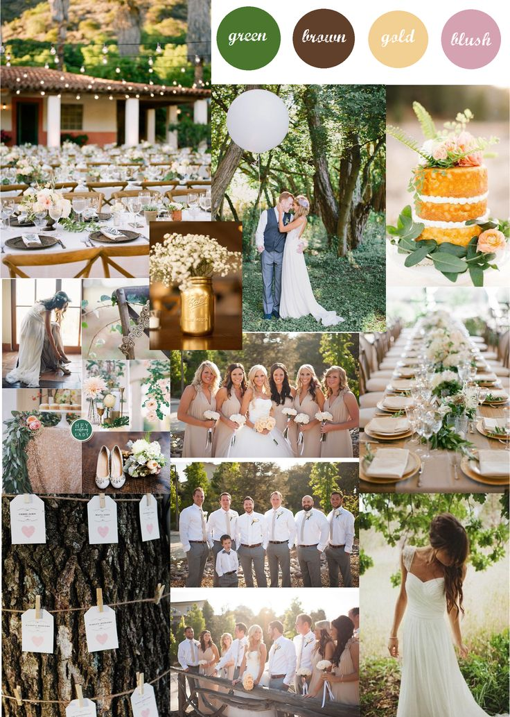 Our colour scheme - forest green, bark brown, blush and hints of gold for an outdoor summer wedding