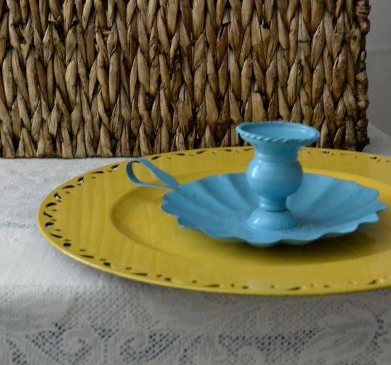 Blue Retro Tin Candle Holder   Old Fashioned Candle Holder   Aqua Candle  Holder   Little