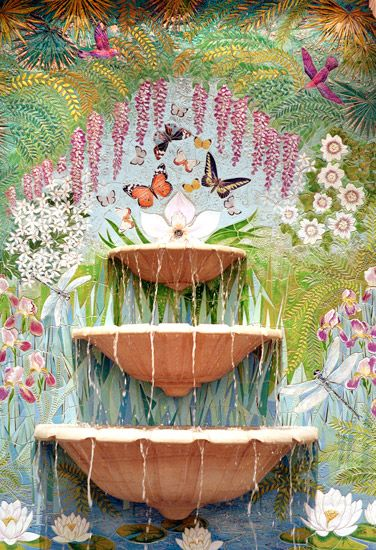 Mosaic wall water feature.