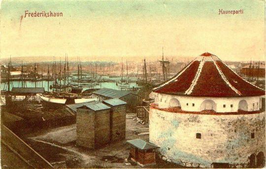Frederikshavn. North Jutland, Denmark. Abt. 1905 -10 The white tower is the Gun Powder tower. Frederikshavn has been a naval base for centuries - and still is.