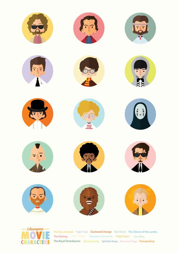 Awesome Movie Characters by Rafael Lima, via Behance