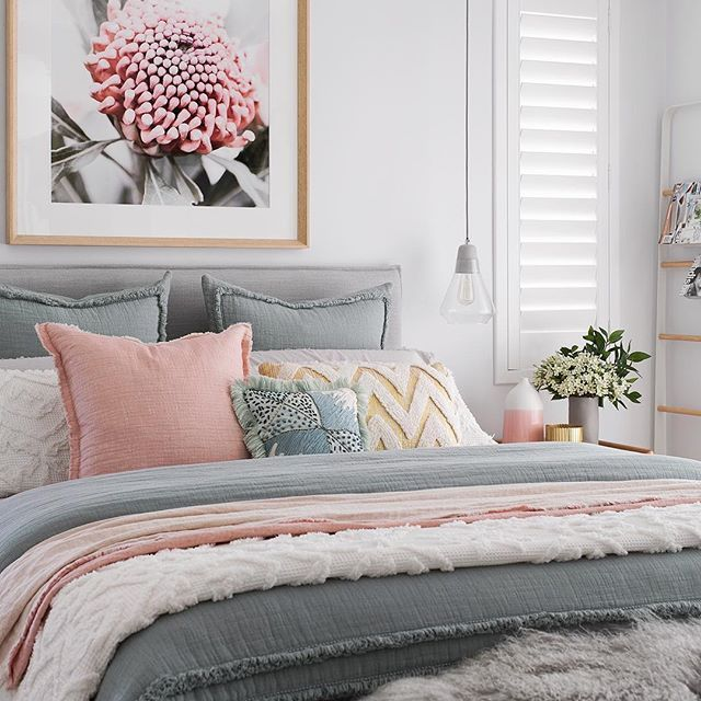 Loving The Palette Of This Bedroom Light Blue Blush Pink And