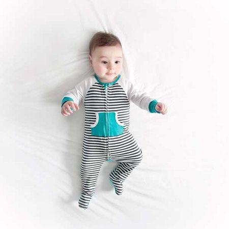 Li'l Zippers Zip Footed Romper and Beanie - Teal Stripe