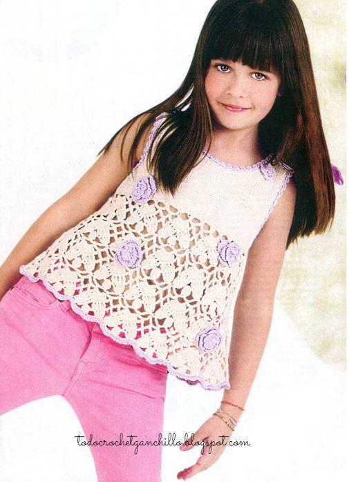 4 Blusas con faldas Crochet para Niñas / patrones | Todo crochet