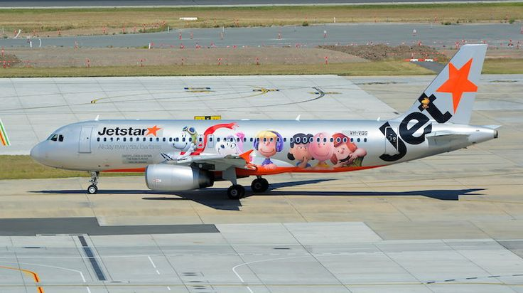 Jetstar Airbus A320 VH-VQG featuring Snoopy, Charlie Brown and friends. (Brian Wilkes) Makers of Snoopy and Charlie Brown: The Peanuts Movie have taken to the skies to promote the upcoming movie featuring the popular cartoon characters.  Snoopy, Charlie Brown, Lucy and others are featured the fuselage of a Jetstar Airbus A320, VH-VQG, which made its first revenue flight on Monday with the new decals when it operated JQ846 from Melbourne Tullamarine to Sydney.