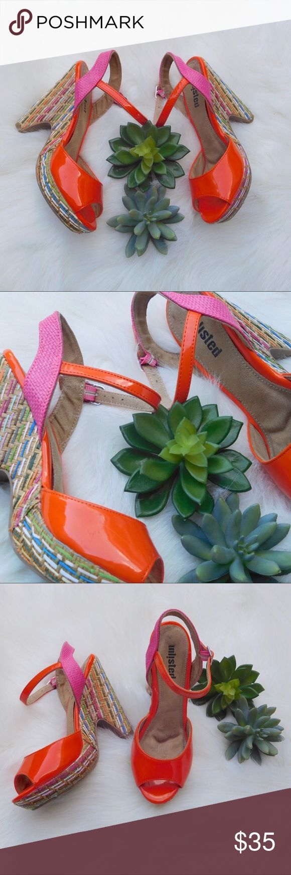 "Unlisted Orange Espadrille Rainbow Wedges Sz 6 Gently used, has minor signs of wear. Very light scuff mark shown in photos. Barely noticeable. Some of the threaded rainbow material is slightly lifted. Heel: 4 1/2"", Platform: 1"". Inner sole has minor signs of wear. Size 6 Unlisted Shoes Wedges"