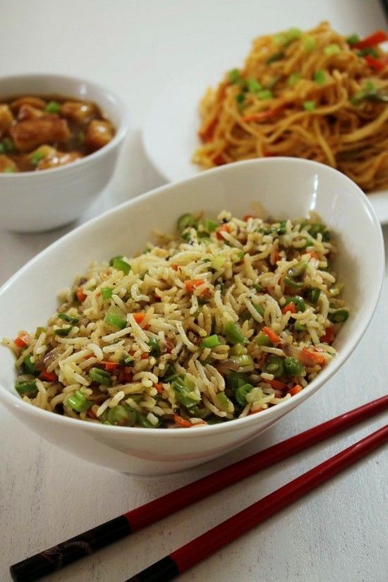 Most popular fried rice recipe from Indo-Chinese cuisine. Very simple yet delicious veg fried rice.