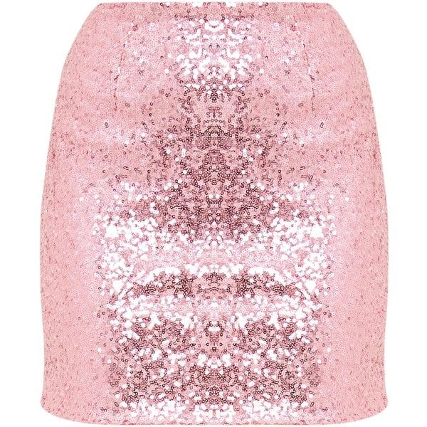 Laniyah Pastel Pink Sequin Mini Skirt ($23) ❤ liked on Polyvore featuring skirts and mini skirts