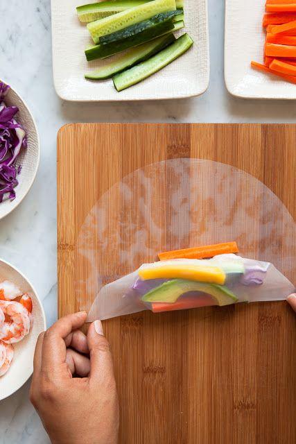 rouleau de printemps légumes et crevettes /mango shrimp summer roll