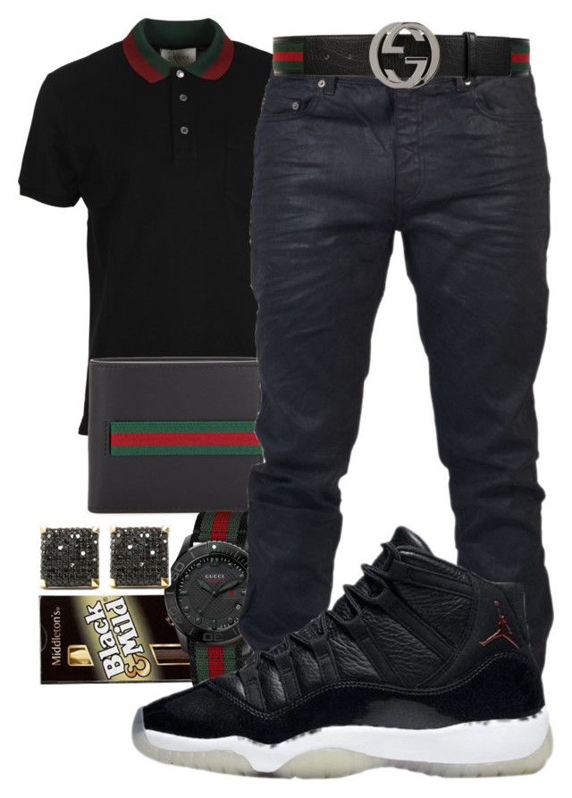 """Drenched In Designer"" by young-rich-nvgga ❤ liked on Polyvore featuring Gucci, Yves Saint Laurent, men's fashion and menswear"