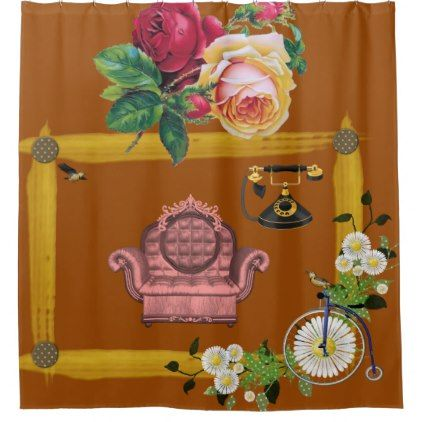 orange and brown shower curtain. Vintage flower couch orange shower curtain Best 25  Orange curtains ideas on Pinterest