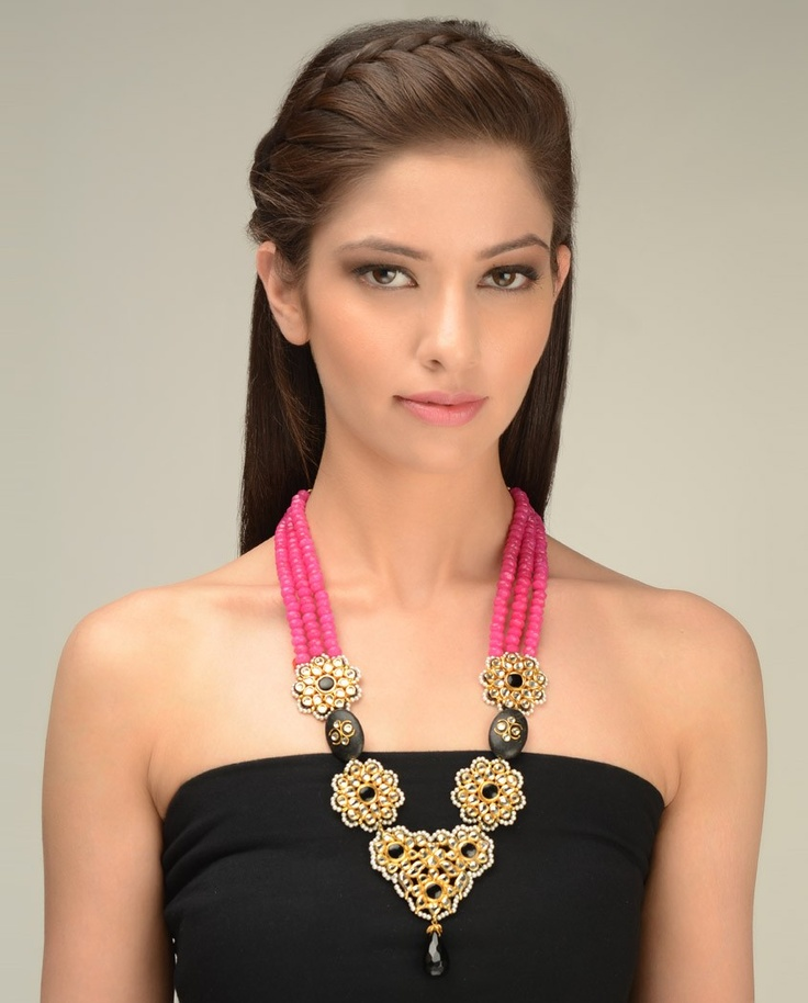 Pink Beaded Necklace with Kundan Floral Design by Just Jewellery