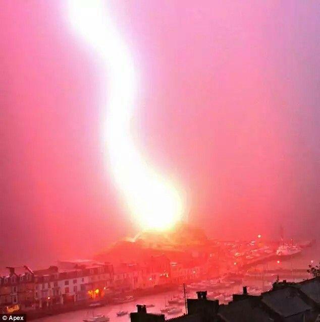The spectacular moment a freak bolt of lightning struck an ancient Devon chapel